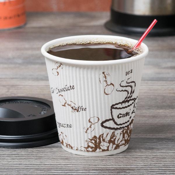 Choice 8 oz. Sleeveless Bean Print Paper Hot Cup - 500/Case