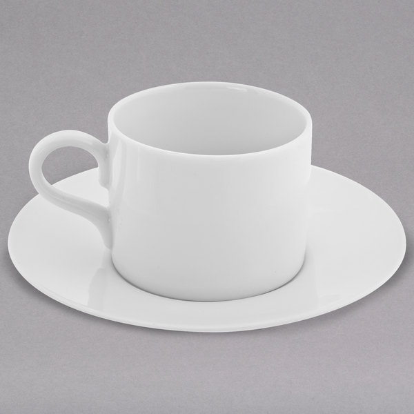 10 Strawberry Street RW0428 Royal White 4 oz. White Round Porcelain Demi Can Cup with Saucer - 24/Case