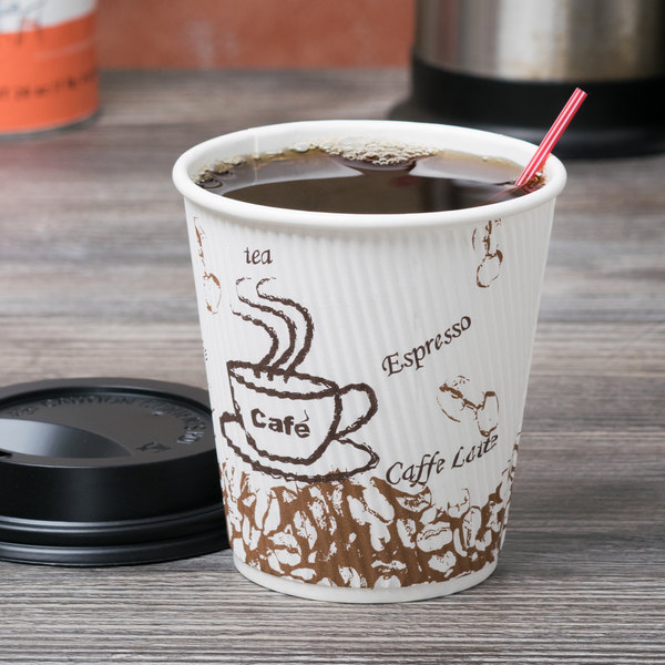Choice 10 oz. Sleeveless Bean Print Paper Hot Cup - 25/Pack