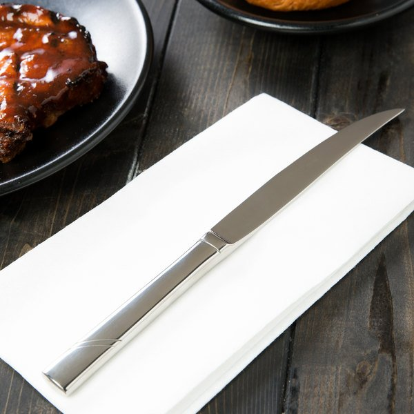 """World Tableware 988 5762 Zephyr 9 3/8"""" 18/8 Stainless Steel Extra Heavy Weight Steak Knife with Solid Handle - 36/Case"""