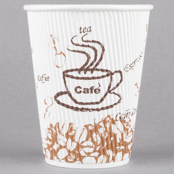 Choice 12 oz. Sleeveless Bean Print Paper Hot Cup - 25/Case