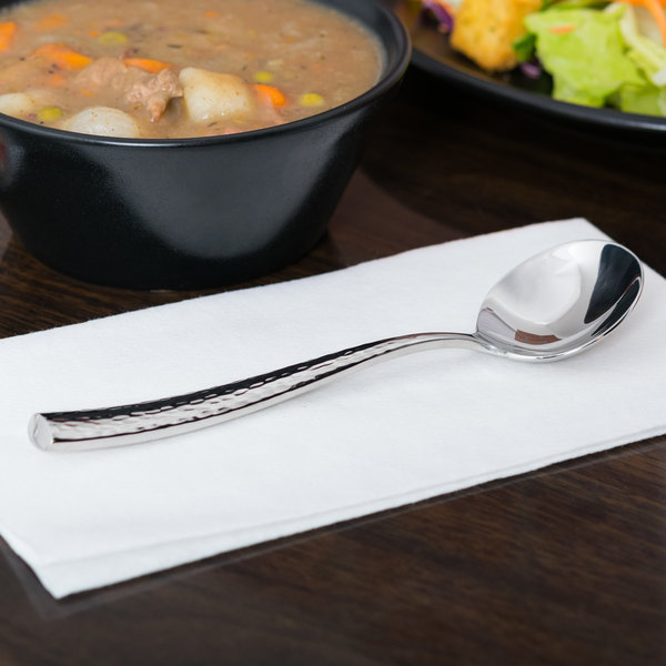 """World Tableware 931 016 Chivalry 18/8 Extra Heavy Weight Stainless Steel 6 5/8"""" Bouillon Spoon - 12/Case Main Image 5"""