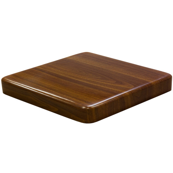 """American Tables & Seating ATR3030-W Resin Super Gloss 30"""" Square Table Top - Walnut"""
