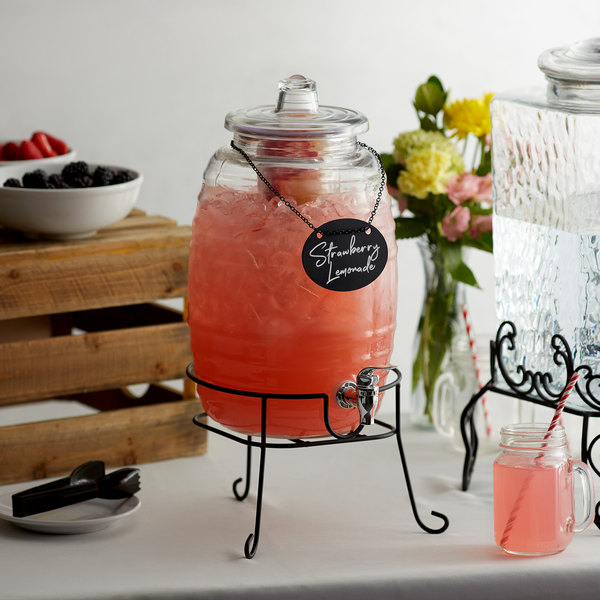 Acopa 2.5 Gallon Barrel Glass Beverage Dispenser with Infusion Chamber, Chalkboard Sign and Black Stand
