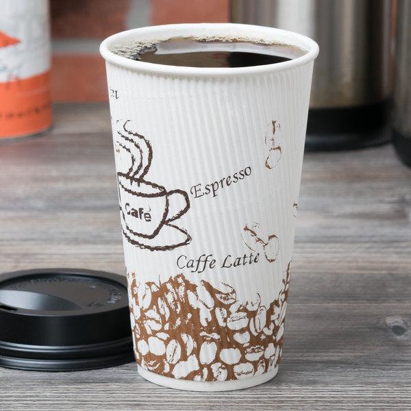 Choice 16 oz. Sleeveless Bean Print Paper Hot Cup - 500/Case