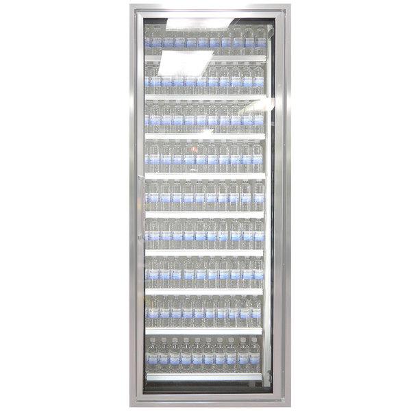 "Styleline ML3079-NT MOD//Line 30"" x 79"" Modular Walk-In Cooler Merchandiser Door with Shelving - Bright Silver Smooth, Right Hinge"