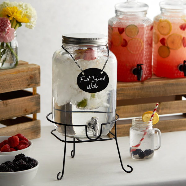 Acopa 2 Gallon Mason Jar Glass Beverage Dispenser with Infusion Chamber, Chalkboard Sign, and Black Stand