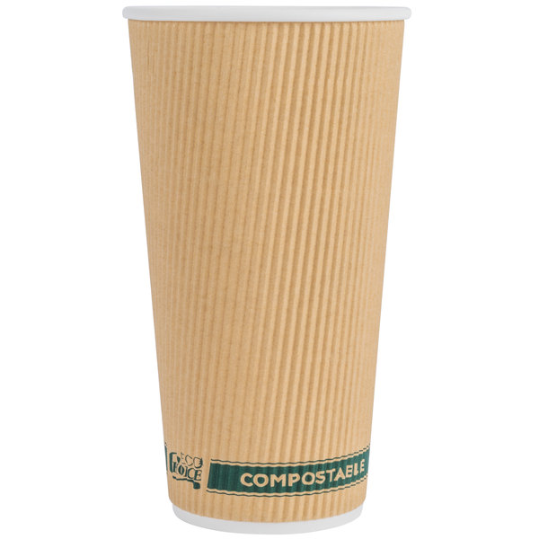 EcoChoice 20 oz. Sleeveless Kraft Compostable and Biodegradable Paper Hot Cup - 500/Case