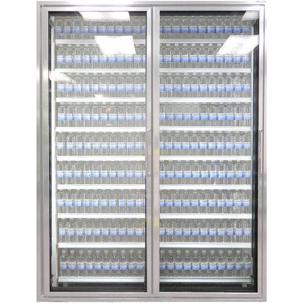 "Styleline ML3075-NT MOD//Line 30"" x 75"" Modular Walk-In Cooler Merchandiser Doors with Shelving - Bright Silver Smooth, Left Hinge - 2/Set"