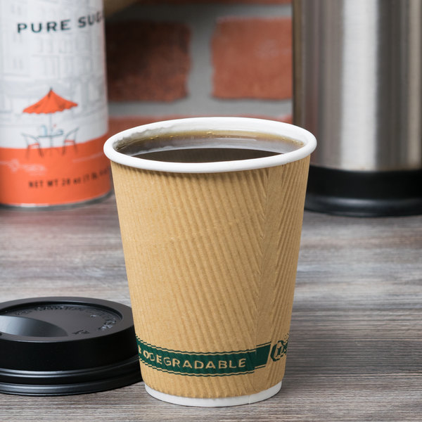 EcoChoice 12 oz. Double Wall Kraft Compostable Paper Hot Cup - 500/Case Main Image 2