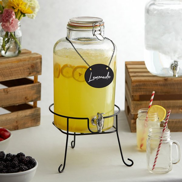 Mason Design 2-Gallon Glass Beverage Dispenser Iron Lid Stylish Silver Spigot