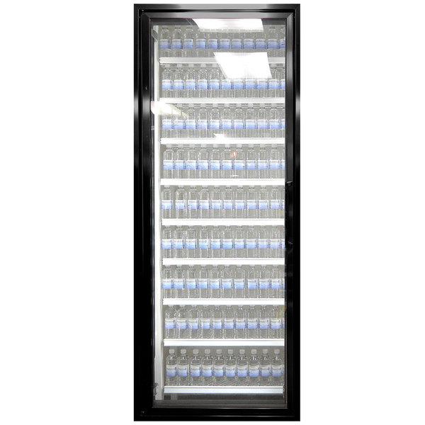 """Styleline ML2675-NT MOD//Line 26"""" x 75"""" Modular Walk-In Cooler Merchandiser Door with Shelving - Satin Black Smooth, Left Hinge"""