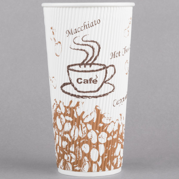 Choice 20 oz. Sleeveless Bean Print Paper Hot Cup - 25/Pack