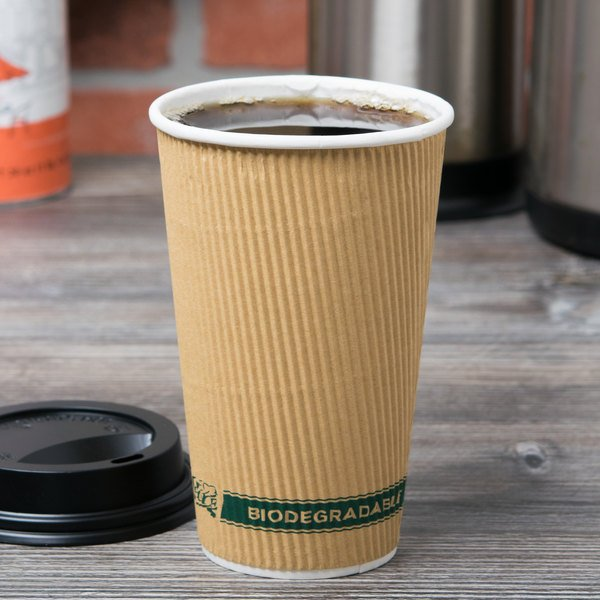 EcoChoice 16 oz. Double Wall Kraft Compostable Paper Hot Cup - 500/Case Main Image 2