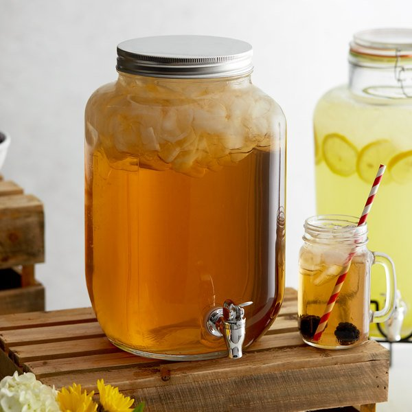 Acopa 2 Gallon Mason Jar Glass Beverage Dispenser Main Image 2