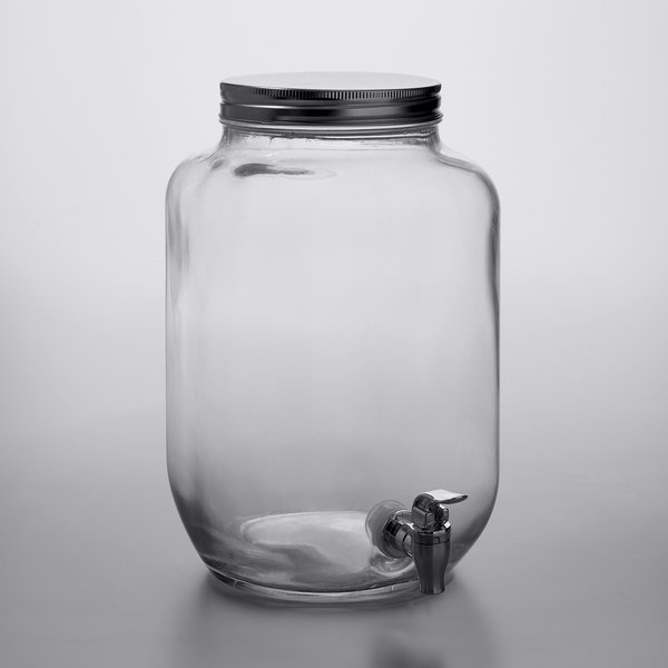 Beverage Dispenser Glass 2 Gallon Sturdy Iron Lid Silver Spigot Container NEW