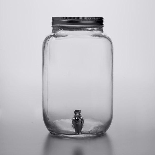 Mason Jar Beverage Dispenser 2 Gallon, Glass Water Jug With Spout