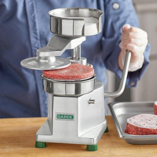 "Garde HDHP12 Heavy-Duty 1/2 lb. 5"" Hamburger Patty Molding Press with Handle Main Image 3"
