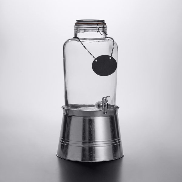 2 Gallon Mason Jar Glass Beverage Dispenser with Chalkboard Sign and Metal Stand