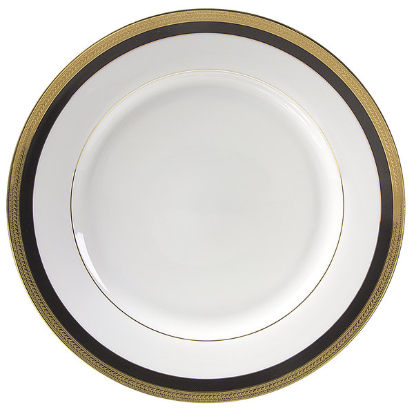 "10 Strawberry Street SAH-2BK Sahara 9"" Black and Gold Luncheon Plate - 24/Case"