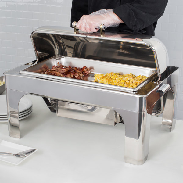 Vollrath 46255 9 Qt. New York, New York Retractable Dripless Chafer Full Size with Brass Trim Main Image 3