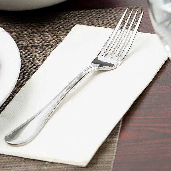 "World Tableware 774 039 Geneva 8"" 18/8 Stainless Steel Extra Heavy Weight European Dinner Fork - 12/Case"