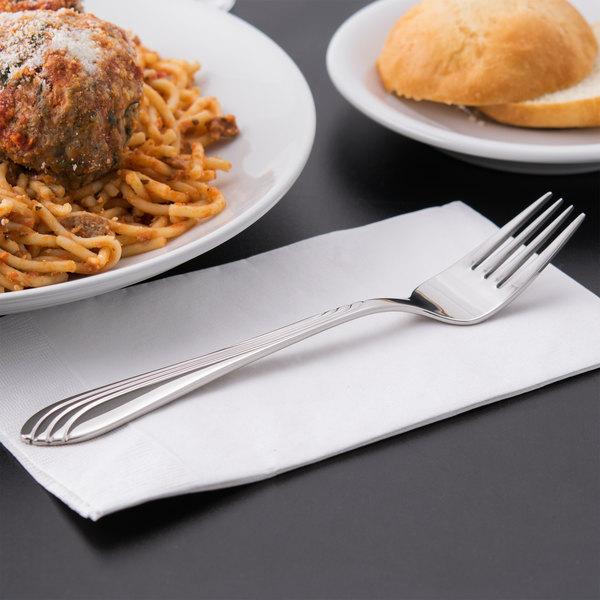 "World Tableware 980 027 Neptune 7 7/8"" 18/8 Stainless Steel Extra Heavy Weight Dinner Fork - 36/Case Main Image 5"