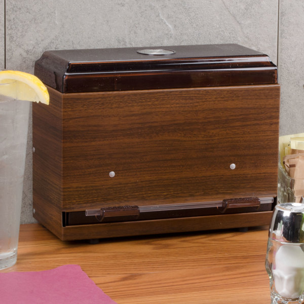 Vollrath 3825-12 Straw Boss Single Sided Bulk Straw Dispenser - Dark Walnut Woodgrain