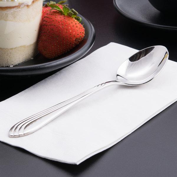 "World Tableware 980 002 Neptune 7 1/8"" 18/8 Stainless Steel Extra Heavy Weight Dessert Spoon - 36/Case Main Image 5"