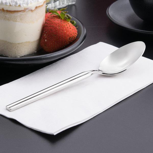 "World Tableware 969 002 Madison 7 1/4"" 18/8 Stainless Steel Extra Heavy Weight Dessert Spoon - 36/Case"
