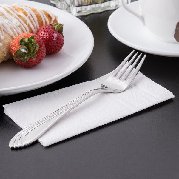 "World Tableware 980 030 Neptune 7 1/2"" 18/8 Stainless Steel Extra Heavy Weight Dessert Fork - 36/Case Main Image 5"
