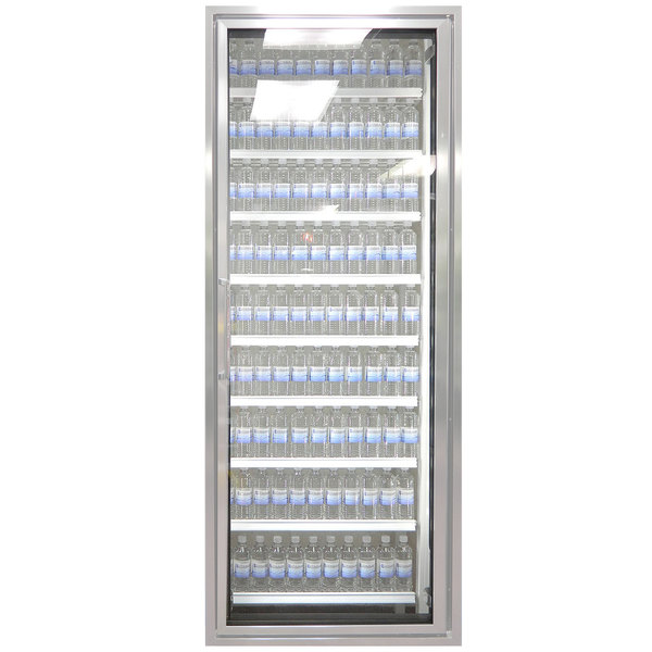 """Styleline ML3075-HH MOD//Line 30"""" x 75"""" Modular High Humidity Walk-In Cooler Merchandiser Door with Shelving - Bright Silver Smooth, Right Hinge"""