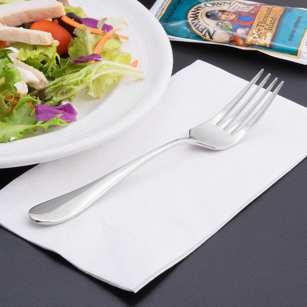 "World Tableware 927 038 Santa Cruz 7 1/8"" 18/8 Stainless Steel Extra Heavy Weight Salad Fork - 12/Case"