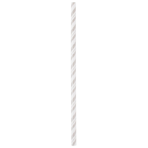 Creative Converting 315217 7 3/4 inch Jumbo Shimmering Silver / White Stripe Paper Straw  - 144/Case
