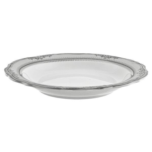 10 Strawberry Street VAN-3P Vanessa 8 oz. Platinum Wide Rim Porcelain Soup Bowl - 36/Case