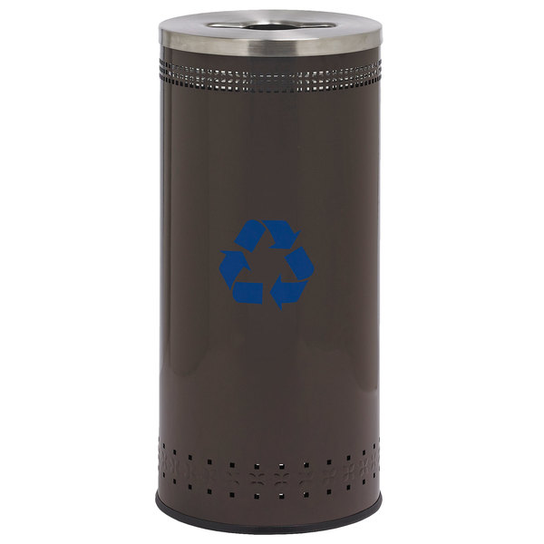 Commercial Zone 78183899 25 Gallon Precision Brown Trash / Recycling Receptacle with Decals