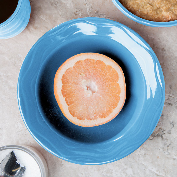 Syracuse China 903032019 Cantina 12 oz. Blueberry Carved Porcelain Grapefruit Bowl - 12/Case
