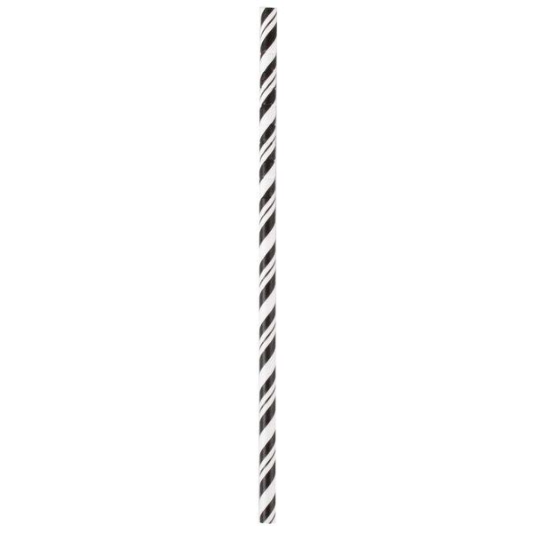 Creative Converting 051159 7 3/4 inch Jumbo Black Velvet / White Stripe Paper Straw  - 144/Case