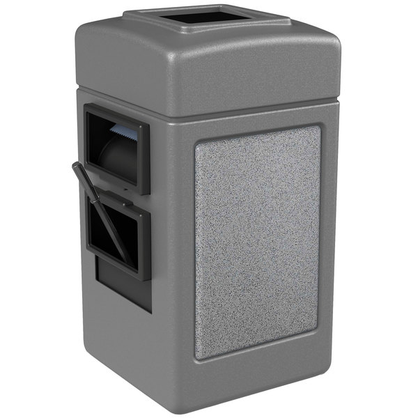 Commercial Zone 75511199 28 Gallon Islander Series Gray Harbor 1 Stonetec Waste Container with Towel Dispenser and Windshield Wash Station