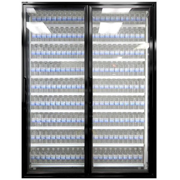 "Styleline ML2475-LT MOD//Line 24"" x 75"" Modular Walk-In Freezer Merchandiser Doors with Shelving - Satin Black Smooth, Right Hinge - 2/Set"
