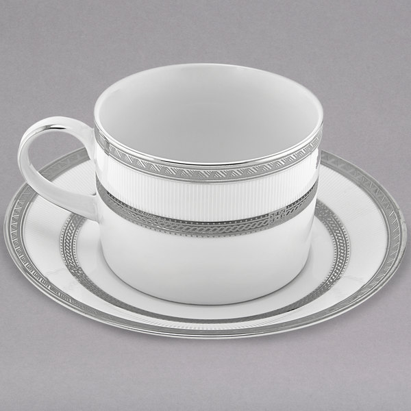 10 Strawberry Street SOP-9 Sophia 8 oz. Platinum Porcelain Can Cup with Saucer - 24/Case