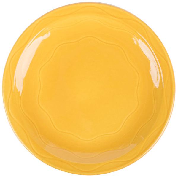 "Syracuse China 903033002 Cantina 11 1/4"" Saffron Carved Round Porcelain Plate - 12/Case"