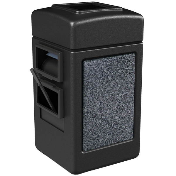 Commercial Zone 75511399 28 Gallon Islander Series Black Harbor 1 Stonetec Waste Container with Towel Dispenser and Windshield Wash Station