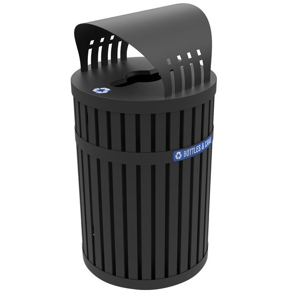 Commercial Zone 72840199 ArchTec Parkview Black Steel Round Recycling Bin with Canopy - 45 Gallon Main Image 1