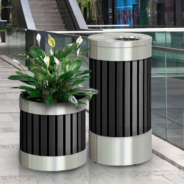 "Commercial Zone 727643 Riverview Stainless Steel Planter - 18 1/4"" X 20 1/2"" Main Image 3"