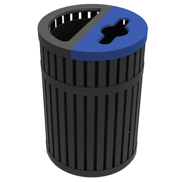 Commercial Zone 728501 ArchTec Parkview Black Steel Dual Trash and Recycling Bin - 45 Gallon