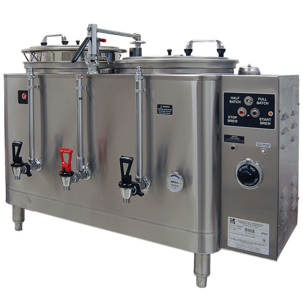 Grindmaster 7776E Twin 6 Gallon Automatic Mid Line Coffee Urn - 120/208V, 1 Phase