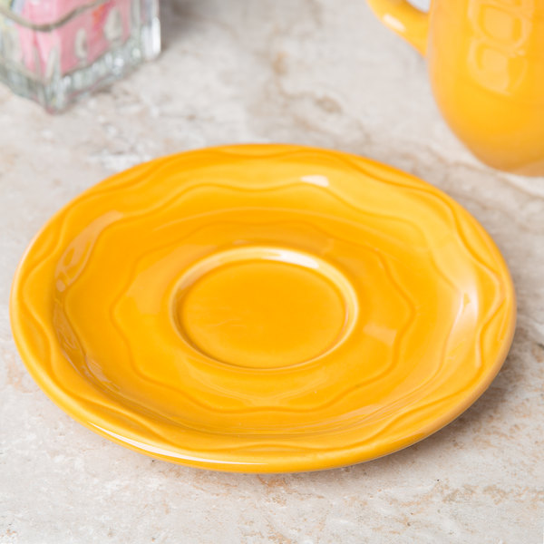 "Syracuse China 903033201 Cantina 6 1/4"" Saffron Carved Porcelain Saucer - 12/Case"