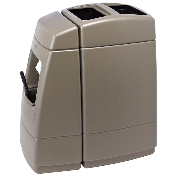 Commercial Zone 75814299 55 Gallon Islander Series Haven 1 Brown Waste Container with Paper Towel Dispenser, Squeegee, and Windshield Wash Station Main Image 1