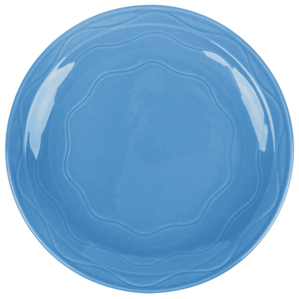 """Syracuse China 903032003 Cantina 7 1/4"""" Blueberry Carved Round Porcelain Plate - 12/Case"""